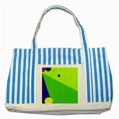 Colorful Abstract Design Striped Blue Tote Bag by Valentinaart