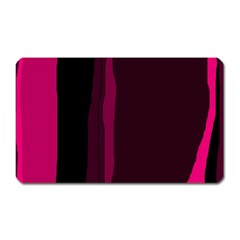 Pink And Black Lines Magnet (rectangular) by Valentinaart