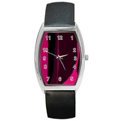 Pink And Black Lines Barrel Style Metal Watch by Valentinaart