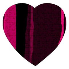 Pink And Black Lines Jigsaw Puzzle (heart) by Valentinaart
