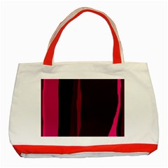 Pink And Black Lines Classic Tote Bag (red) by Valentinaart