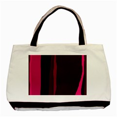 Pink And Black Lines Basic Tote Bag (two Sides) by Valentinaart