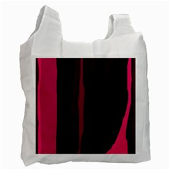 Pink And Black Lines Recycle Bag (one Side) by Valentinaart