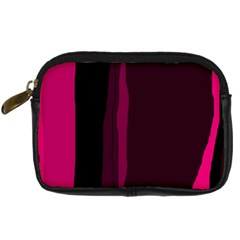 Pink And Black Lines Digital Camera Cases by Valentinaart