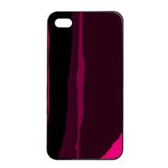 Pink And Black Lines Apple Iphone 4/4s Seamless Case (black) by Valentinaart