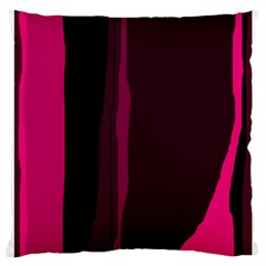 Pink And Black Lines Large Cushion Case (one Side) by Valentinaart