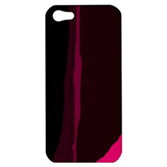 Pink And Black Lines Apple Iphone 5 Hardshell Case by Valentinaart