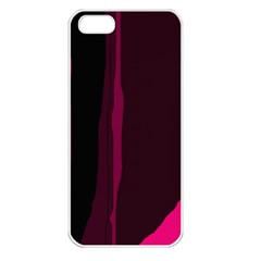 Pink And Black Lines Apple Iphone 5 Seamless Case (white) by Valentinaart