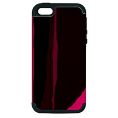 Pink And Black Lines Apple Iphone 5 Hardshell Case (pc+silicone) by Valentinaart