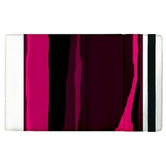 Pink And Black Lines Apple Ipad 2 Flip Case by Valentinaart