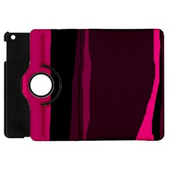 Pink And Black Lines Apple Ipad Mini Flip 360 Case by Valentinaart