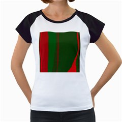 Green And Red Lines Women s Cap Sleeve T by Valentinaart
