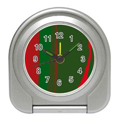 Green And Red Lines Travel Alarm Clocks by Valentinaart