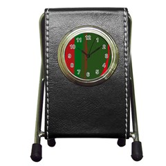 Green And Red Lines Pen Holder Desk Clocks by Valentinaart