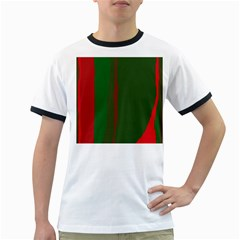 Green And Red Lines Ringer T Shirts by Valentinaart