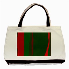 Green And Red Lines Basic Tote Bag (two Sides) by Valentinaart