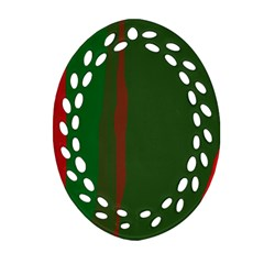 Green And Red Lines Ornament (oval Filigree)  by Valentinaart