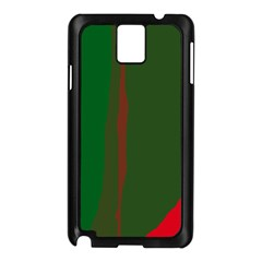 Green And Red Lines Samsung Galaxy Note 3 N9005 Case (black) by Valentinaart