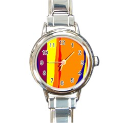 Hot Colorful Lines Round Italian Charm Watch by Valentinaart
