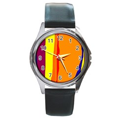 Hot Colorful Lines Round Metal Watch by Valentinaart
