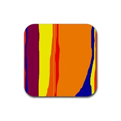 Hot Colorful Lines Rubber Square Coaster (4 Pack)  by Valentinaart