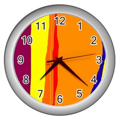 Hot Colorful Lines Wall Clocks (silver)  by Valentinaart
