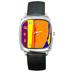 Hot Colorful Lines Square Metal Watch by Valentinaart