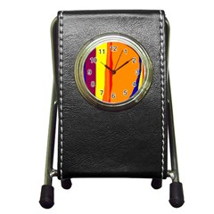 Hot Colorful Lines Pen Holder Desk Clocks
