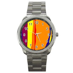 Hot Colorful Lines Sport Metal Watch by Valentinaart