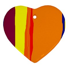 Hot Colorful Lines Heart Ornament (2 Sides) by Valentinaart
