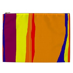 Hot Colorful Lines Cosmetic Bag (xxl)  by Valentinaart