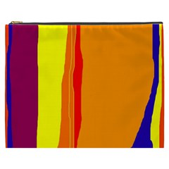 Hot Colorful Lines Cosmetic Bag (xxxl)  by Valentinaart