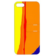 Hot Colorful Lines Apple Iphone 5 Hardshell Case With Stand by Valentinaart