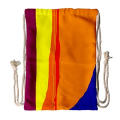 Hot Colorful Lines Drawstring Bag (large) by Valentinaart