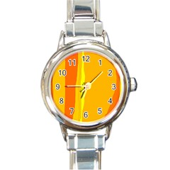 Yellow And Orange Lines Round Italian Charm Watch by Valentinaart
