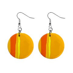 Yellow And Orange Lines Mini Button Earrings