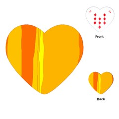 Yellow And Orange Lines Playing Cards (heart)  by Valentinaart
