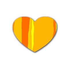 Yellow And Orange Lines Heart Coaster (4 Pack)  by Valentinaart