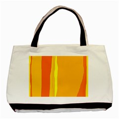 Yellow And Orange Lines Basic Tote Bag (two Sides) by Valentinaart