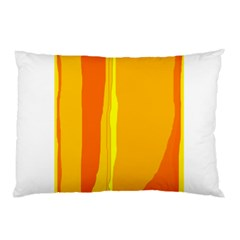 Yellow And Orange Lines Pillow Case by Valentinaart