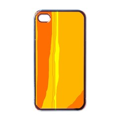 Yellow And Orange Lines Apple Iphone 4 Case (black) by Valentinaart