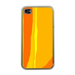 Yellow And Orange Lines Apple Iphone 4 Case (clear) by Valentinaart