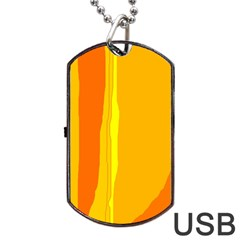 Yellow And Orange Lines Dog Tag Usb Flash (one Side) by Valentinaart