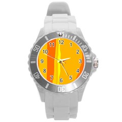 Yellow And Orange Lines Round Plastic Sport Watch (l) by Valentinaart