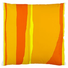 Yellow And Orange Lines Large Cushion Case (two Sides) by Valentinaart