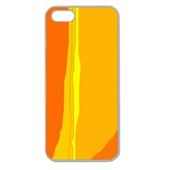Yellow And Orange Lines Apple Seamless Iphone 5 Case (clear) by Valentinaart
