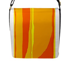 Yellow And Orange Lines Flap Messenger Bag (l)  by Valentinaart