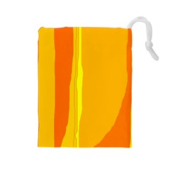 Yellow And Orange Lines Drawstring Pouches (large)  by Valentinaart