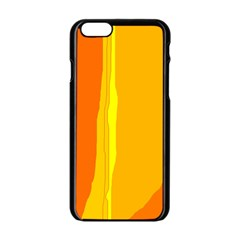 Yellow And Orange Lines Apple Iphone 6/6s Black Enamel Case by Valentinaart