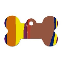 Colorful Lines Dog Tag Bone (one Side) by Valentinaart